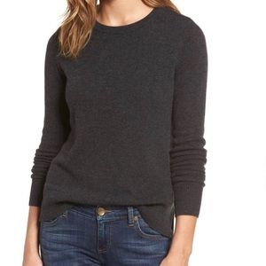 Halogen Crewneck Charcoal Gray Cashmere Sweater